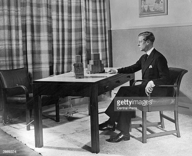 King Edward VIII makes his first radio broadcast as King of Britain from Studio 38 Broadcasting House London