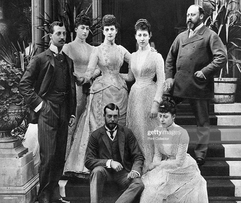 King Edward's VII's family, Marlborough House, London, c1890 (1935). The Duke of Clarence, the Queen of Norway, Queen Alexandra, the Princess Royal (Duchess of Fife), King Edward (then Prince of Wales), Prince George (later King George V) and Princess Victoria. A print from King Emperor's Jubilee, 1910-1935, by FGH Salusbury, Daily Express Publications, London, 1935.