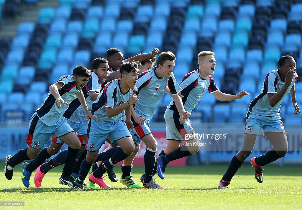 King Edwards's School Witley celebrates the win after a penalty shoot out during the Premier League under 16 Small Schools' Cup final match between King Edwards's School Witley and Blacon High School at the Academy Training Ground on May 04, 2016 in Manchester, England.