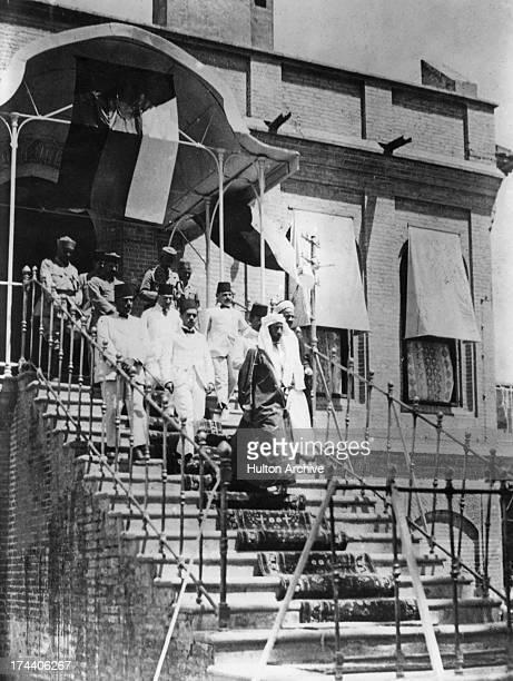 King Faisal I of Iraq seen leaving a building in Baghdad Iraq April 1921