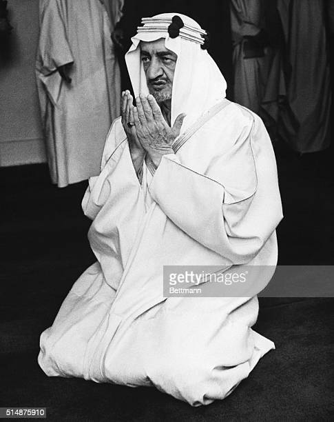 King Faisal ibn al Saud of Saudi Arabia visits London's Central Mosque for prayer during a tour through England | Location Central Mosque London...