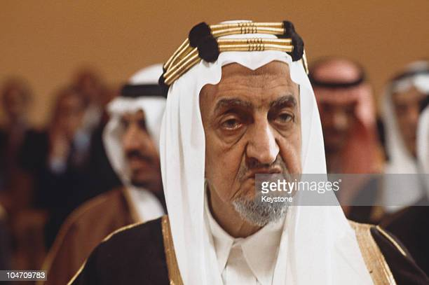 King Faisal of Saudi Arabia at the Arab League summit held in Rabat Morocco in October 1974