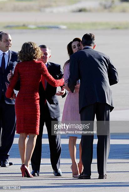 King Felipe and Queen Letizia of Spain Receive King Abdullah and Queen Rania of Jordan at Barajas Airport on November 19 2015 in Madrid Spain