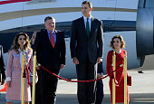 King Felipe and Queen Letizia of Spain Receive King Abdullah and Queen Rania of Jordan at Barajas Airport on November 19 2015 in Madrid Spain