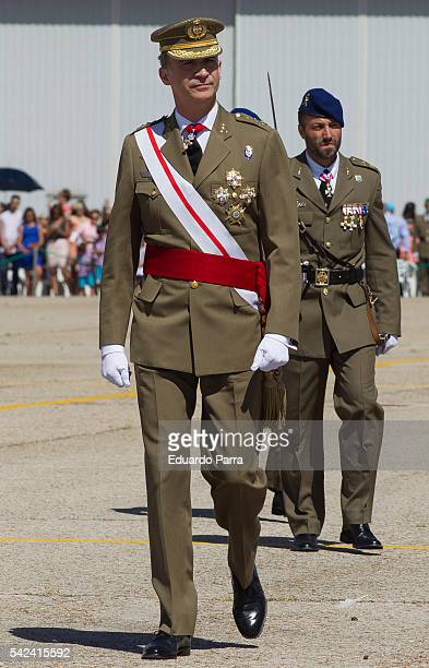 King Felipe IV attends the 50th anniversary of the creation in the Army of the helicopter units at Coronel Mate military base on June 23 2016 in...