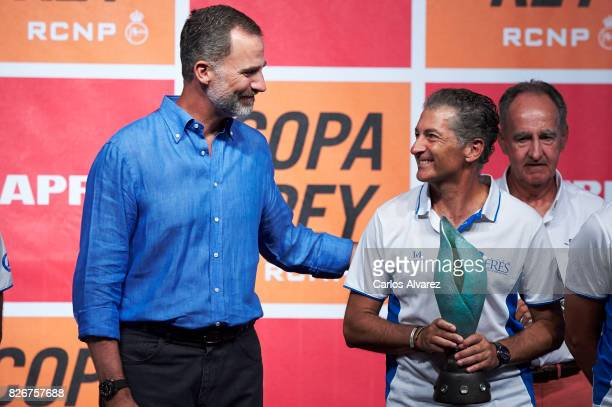 King Felipe of Spain and Javier Banderas attend the 36th Copa del Rey Mapfre Sailing Cup awards ceremony at the Ses Voltes cultural center on August...