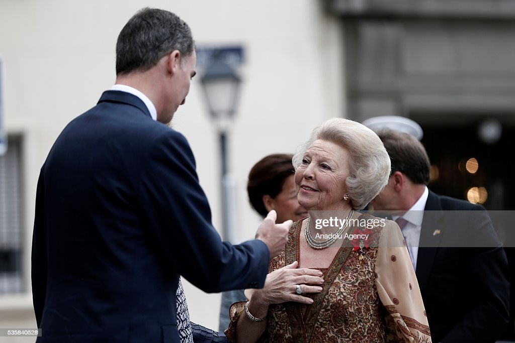 King Felipe (L) of Spain and Princess Beatrix Wilhelmina Armgard of Holland (R) attend '500th anniversary of the death of Dutch painter Hieronymus Bosch' event at the Prado museum in Madrid, Spain on May 30, 2016.