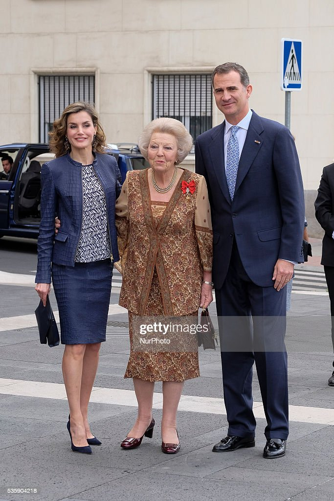 King Felipe of Spain and Queen Letizia of Spain and Princess Beatrice of Holland (C) attend the opening of the painting exhibition 'The Bosch' at El Prado Museum on May 30, 2016 in Madrid, Spain.