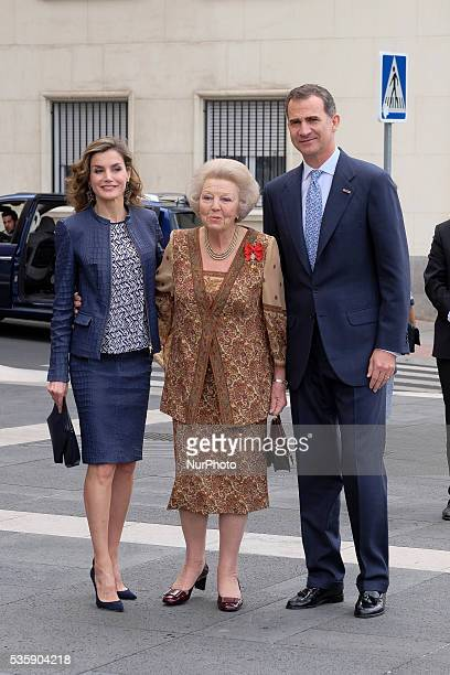 King Felipe of Spain and Queen Letizia of Spain and Princess Beatrice of Holland attend the opening of the painting exhibition 'The Bosch' at El...