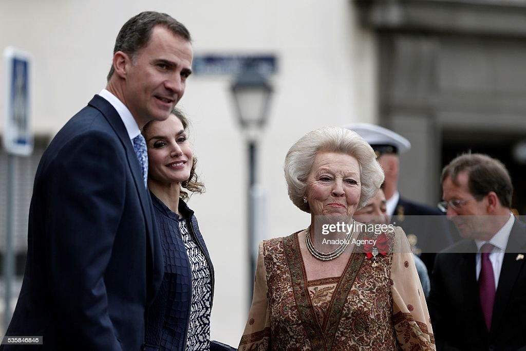 King Felipe (L) of Spain and Queen Letizia (C) of Spain and Princess Beatrix Wilhelmina Armgard of Holland (R) attend the opening of the painting exhibition 'The Bosch' at El Prado Museum on May 30, 2016 in Madrid, Spain.