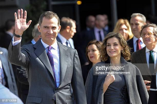 King Felipe of Spain and Queen Letizia of Spain arrive at 'Miguel de Cervantes De La Vida Al Mito ' Exhibition on March 4 2016 in Madrid Spain