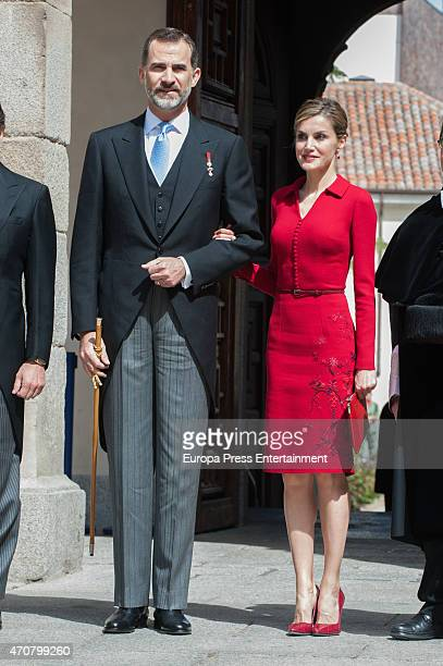 King Felipe of Spain and Queen Letizia of Spain attend Cervantes Award Ceremony at Alcala de Henares University on April 23 2015 in Alcala de Henares...