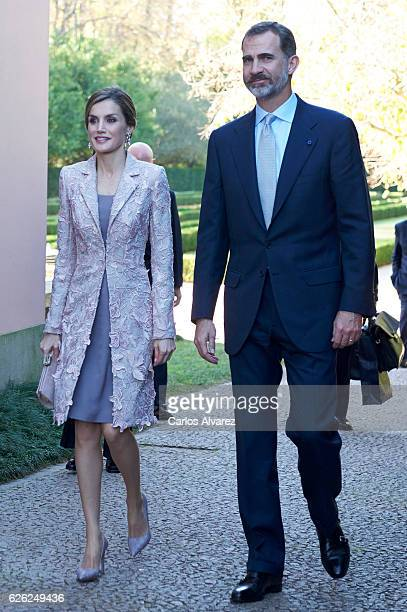 King Felipe of Spain and Queen Letizia of Spain attend Joan Miro 'Materiality and metamorphosis' exhibition at the Serralves Foundation during their...