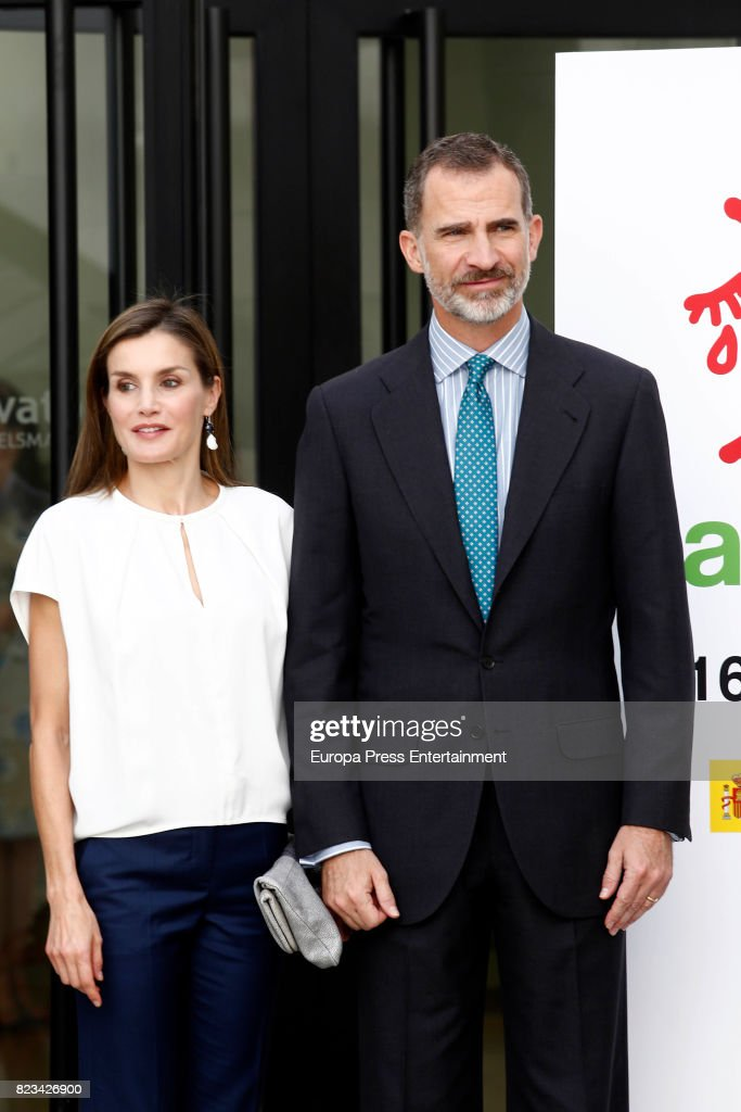 King Felipe of Spain and Queen Letizia of Spain attend the 016 Telefonic Hotline Central for Gender Violence Assistance on July 27, 2017 in Madrid, Spain.