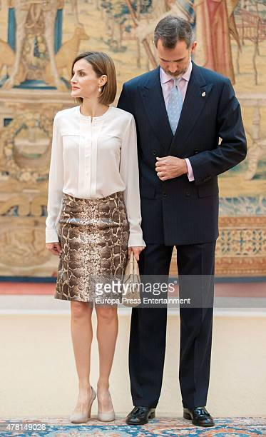 King Felipe of Spain and Queen Letizia of Spain attend the meeting with members of Princess of Asturias Foundation on June 22 2015 in Madrid Spain