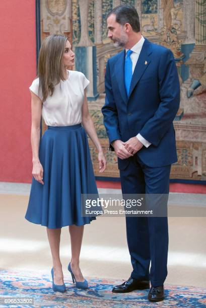 King Felipe of Spain and Queen Letizia of Spain attend the meeting with members of Princess of Asturias Foundation at El Pardo palace on June 16 2017...