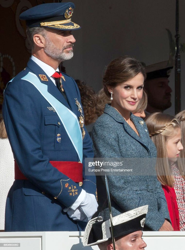 King Felipe of Spain and Queen Letizia of Spain attend the National Day Military Parade 2017 on October 12, 2017 in Madrid, Spain.