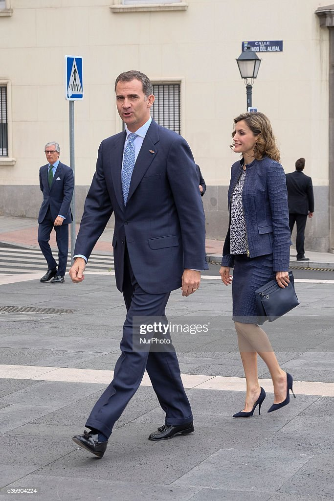 King Felipe of Spain and Queen Letizia of Spain attend the opening of the painting exhibition 'The Bosch' at El Prado Museum on May 30, 2016 in Madrid, Spain.