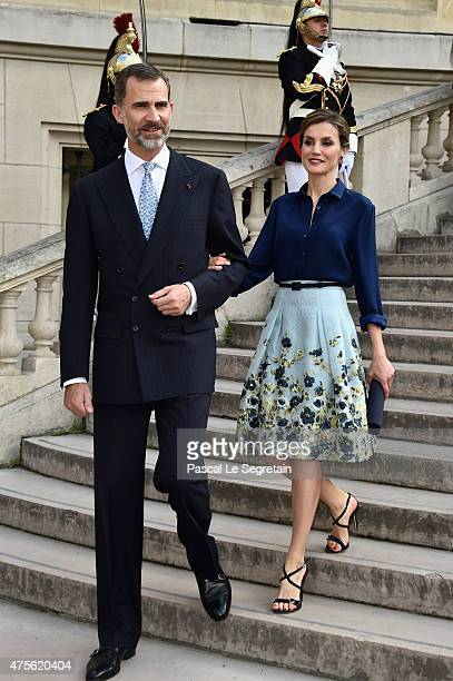 King Felipe of Spain and Queen Letizia of Spain attend the Velasquez painting exhibition at the Grand Palais on June 2 2015 in Paris France