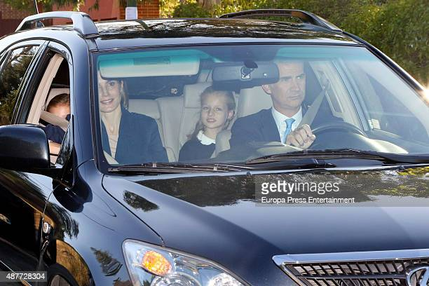 King Felipe of Spain and Queen Letizia of Spain bring their daughters Princess Leonor and Princess Sofia to school for their first day of classes on...