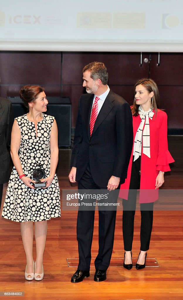 King Felipe of Spain and Queen Letizia of Spain deliver acreditation to the new Spain Brand Honorary Ambassador to the dancer Sara Baras (L) on March 14, 2017 in Madrid, Spain.