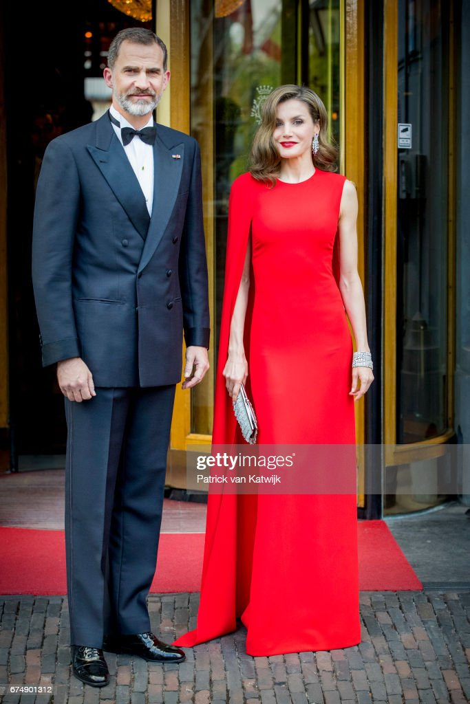 King Felipe of Spain and Queen Letizia of Spain leave their hotel to attend the private birthday party of King Willem-Alexander of The Netherlands in the Royal Stables on April 29, 2017 in The Hague, Netherlands.