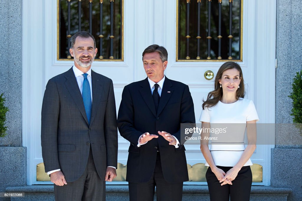King Felipe of Spain (L) and Queen Letizia of Spain (R) receive Slovenian President Borut Pahor (C) at the Zarzuela Palace on June 27, 2017 in Madrid, Spain.