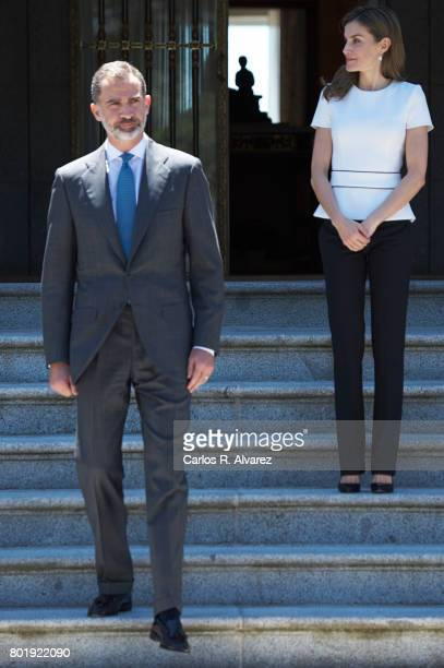 King Felipe of Spain and Queen Letizia of Spain receive Slovenian President Borut Pahor at the Zarzuela Palace on June 27 2017 in Madrid Spain