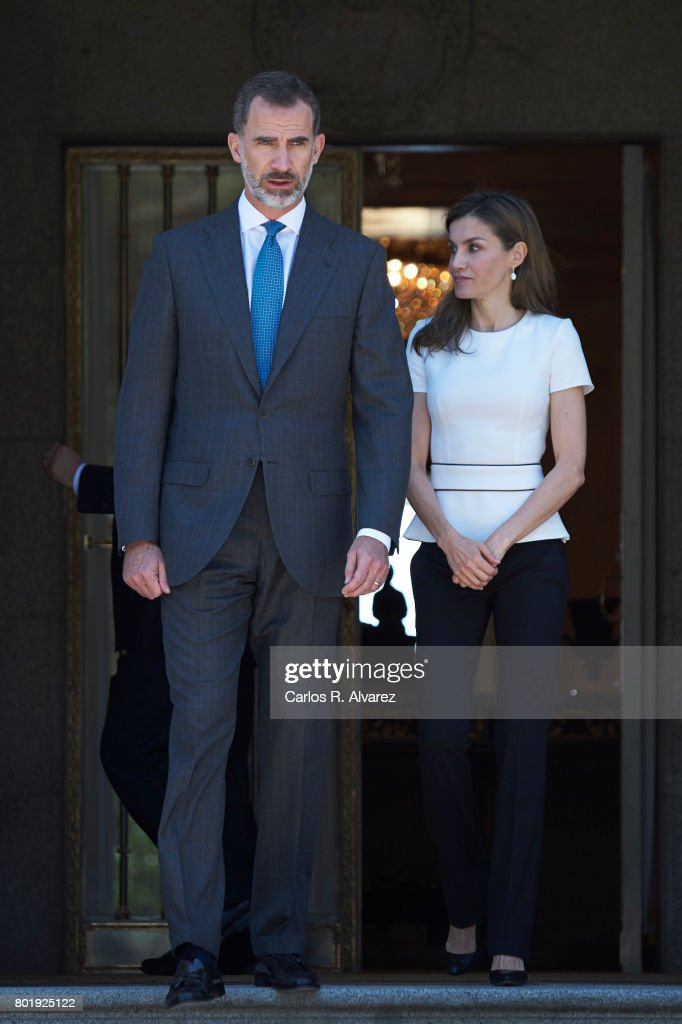 King Felipe of Spain and Queen Letizia of Spain receive Slovenian President Borut Pahor (C) at the Zarzuela Palace on June 27, 2017 in Madrid, Spain.