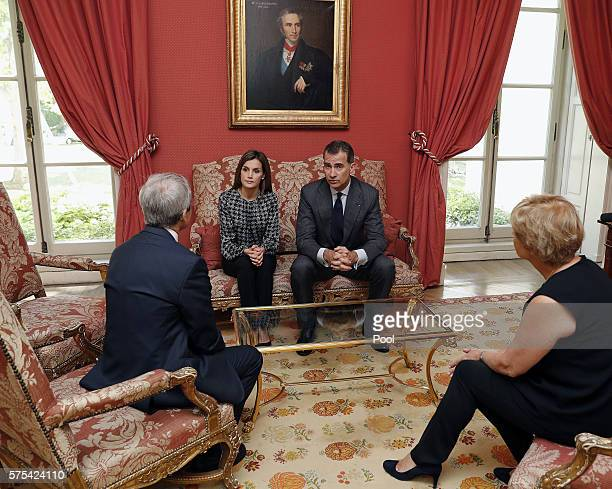 King Felipe of Spain and Queen Letizia of Spain visit the residence of Yves SaintGeour French ambassador to Spain to express their condolences for...