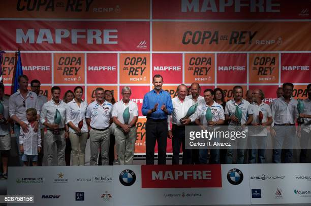 King Felipe of Spain attends the 36th Copa del Rey Mapfre Sailing Cup awards ceremony at the Ses Voltes cultural center on August 5 2017 in Palma de...