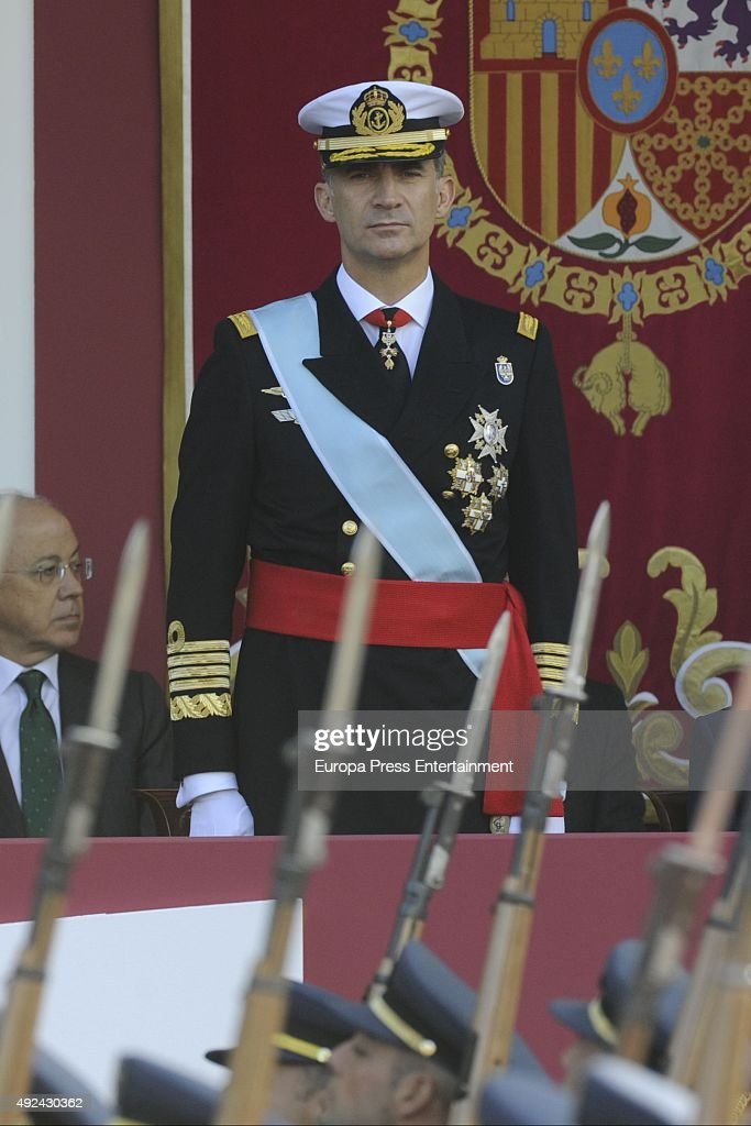 King Felipe of Spain attends the National Day Military Parade 2015 on October 12, 2015 in Madrid, Spain.