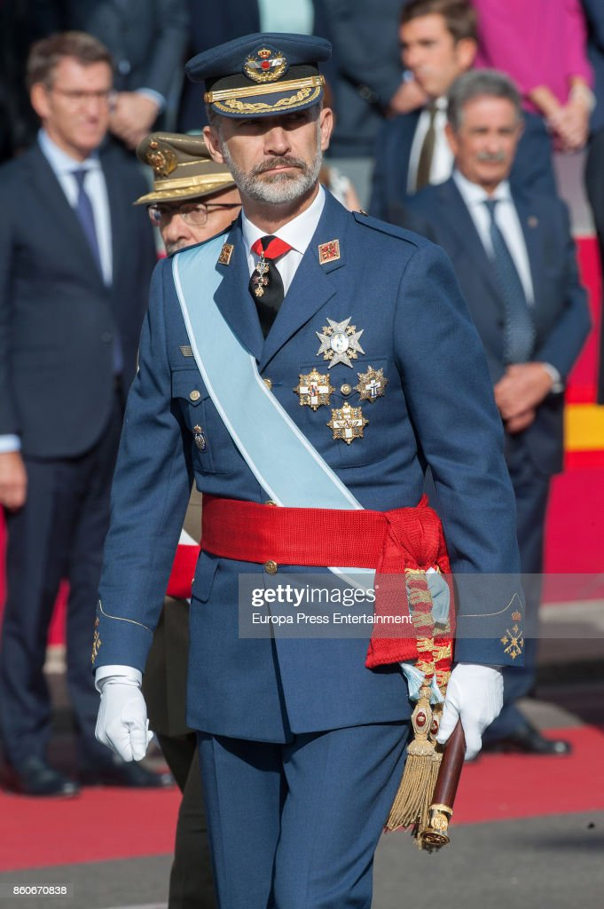 King Felipe of Spain attends the National Day Military Parade 2017 on October 12, 2017 in Madrid, Spain.