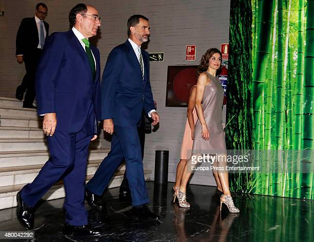 King Felipe of Spain Ignacio Sanchez Galan and Queen Letizia of Spain deliver Iberdrola Foundation scholarships at casa de America on July 9 2015 in...
