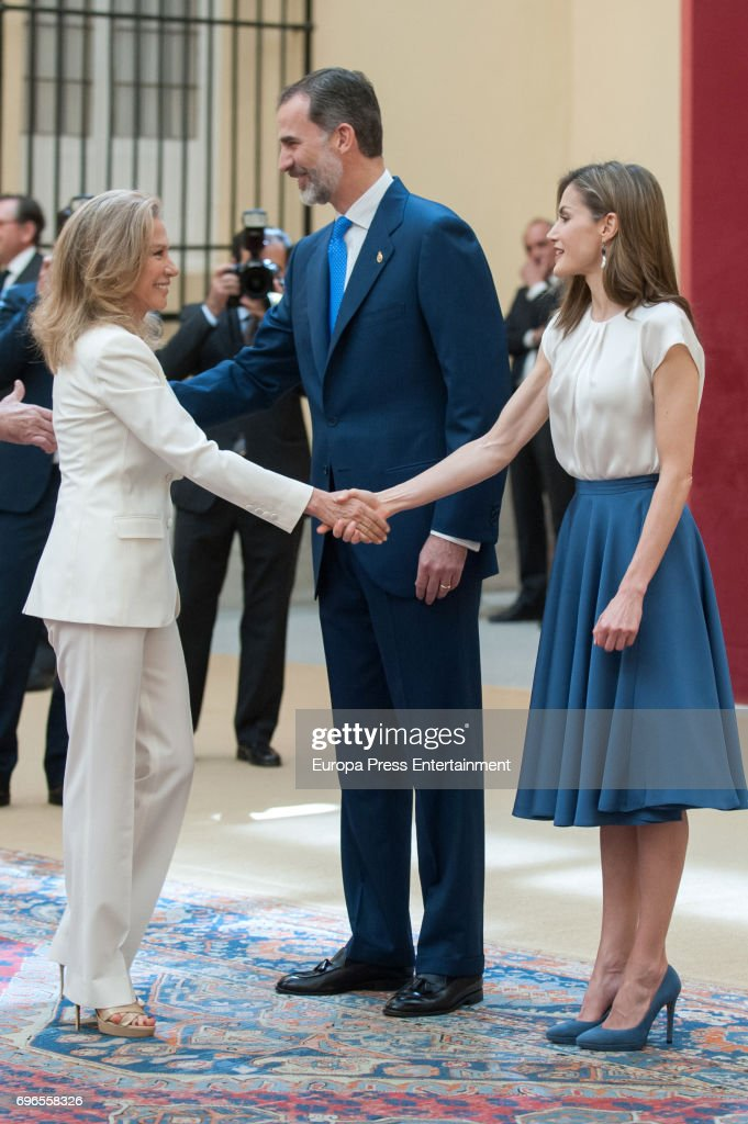 King Felipe of Spain, Queen Letizia of Spain and Alicia Koplowitz (L) attend the meeting with members of Princess of Asturias Foundation at El Pardo palace on June 16, 2017 in Madrid, Spain.
