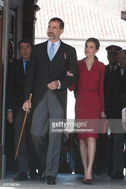 King Felipe of Spain Queen Letizia of Spain and Ignacio Gonzalez attend Cervantes Award Ceremony at Alcala de Henares University on April 23 2015 in...