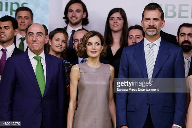King Felipe of Spain Queen Letizia of Spain and Ignacio Sanchez Galan deliver Iberdrola Foundation scholarships at casa de America on July 9 2015 in...
