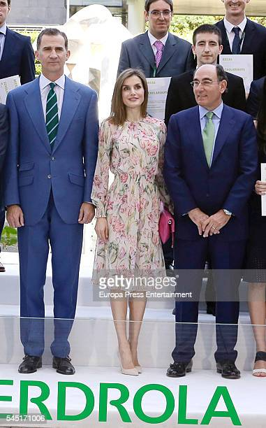 King Felipe of Spain Queen Letizia of Spain and Ignacio Sanchez Galan attend the ceremony held to present Iberdrola 2016 Scholarships on July 5 2016...
