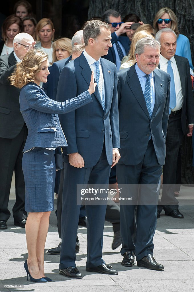 King Felipe of Spain (C), Queen Letizia of Spain and Inigo Mendez de Vigo attend the opening of the painting exhibition 'The Bosch' at El Prado Museum on May 30, 2016 in Madrid, Spain.
