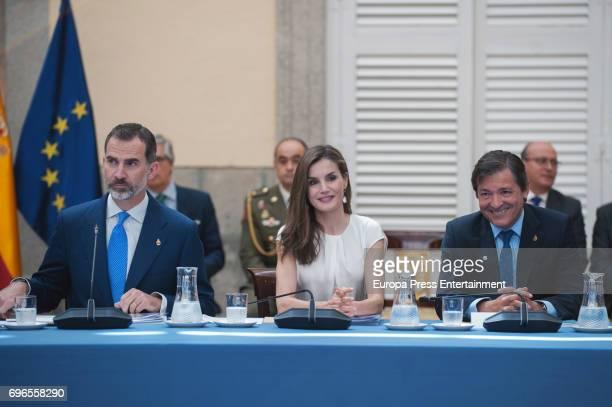 King Felipe of Spain Queen Letizia of Spain and Javier Fernandez attend the meeting with members of Princess of Asturias Foundation at El Pardo...