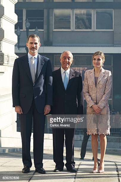 King Felipe of Spain Queen Letizia of Spain and President of Portugal Marcelo Rebelo de Sousa visit the Chamber of Commerce of Porto during the...