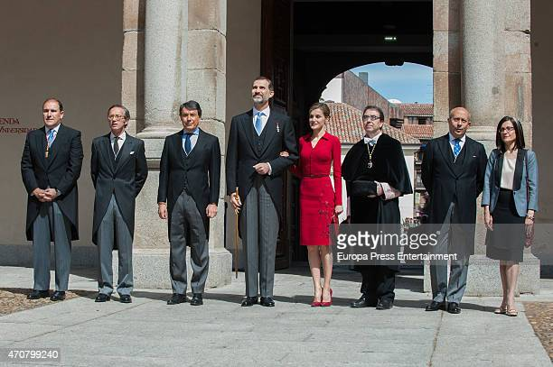 King Felipe of Spain Queen Letizia of Spain Ignacio Gonzalez and Jose Ignacio Wert attend Cervantes Award Ceremony at Alcala de Henares University on...