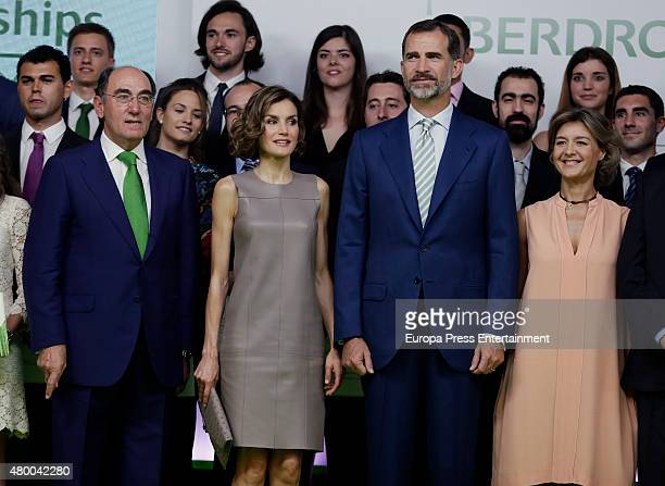 King Felipe of Spain Queen Letizia of Spain Ignacio Sanchez Galan and Isabel Garcia Tejerina deliver Iberdrola Foundation scholarships at casa de...