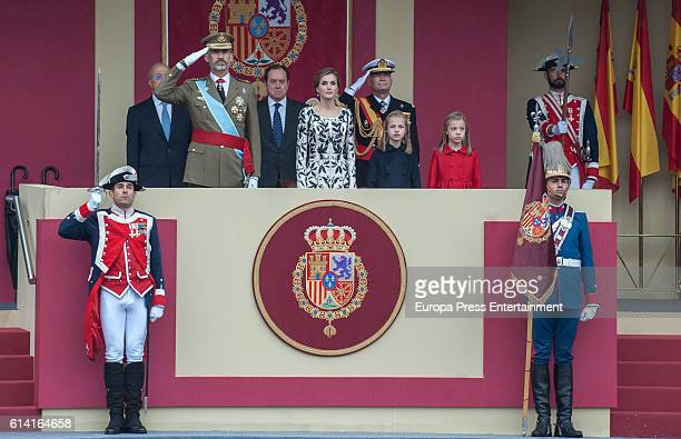 King Felipe of Spain Queen Letizia of Spain Princess Leonor and Princess Sofia attend the National Day Military Parade 2016 on October 12 2016 in...