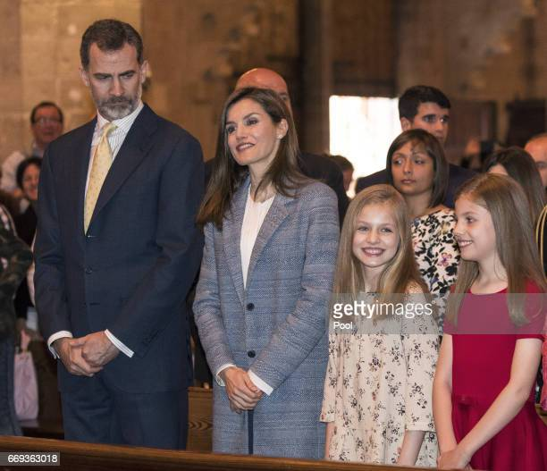 King Felipe of Spain Queen Letizia of Spain Princess Leonor and Princess Sofia attend the Easter Mass at the Cathedral of Palma de Mallorca on April...