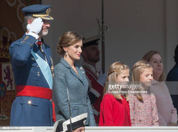 King Felipe of Spain Queen Letizia of Spain Princess Leonor and Princess Sofia attend the National Day Military Parade 2017 on October 12 2017 in...