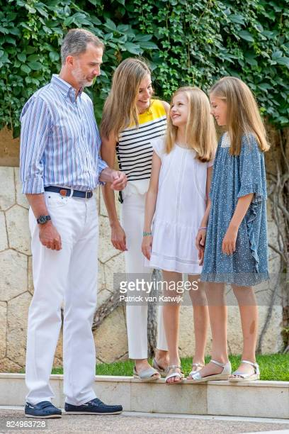 King Felipe of Spain Queen Letizia of Spain Princess Leonor of Spain and Princess Sofia of Spain attend the summer photocall on July 31 2017 in Palma...