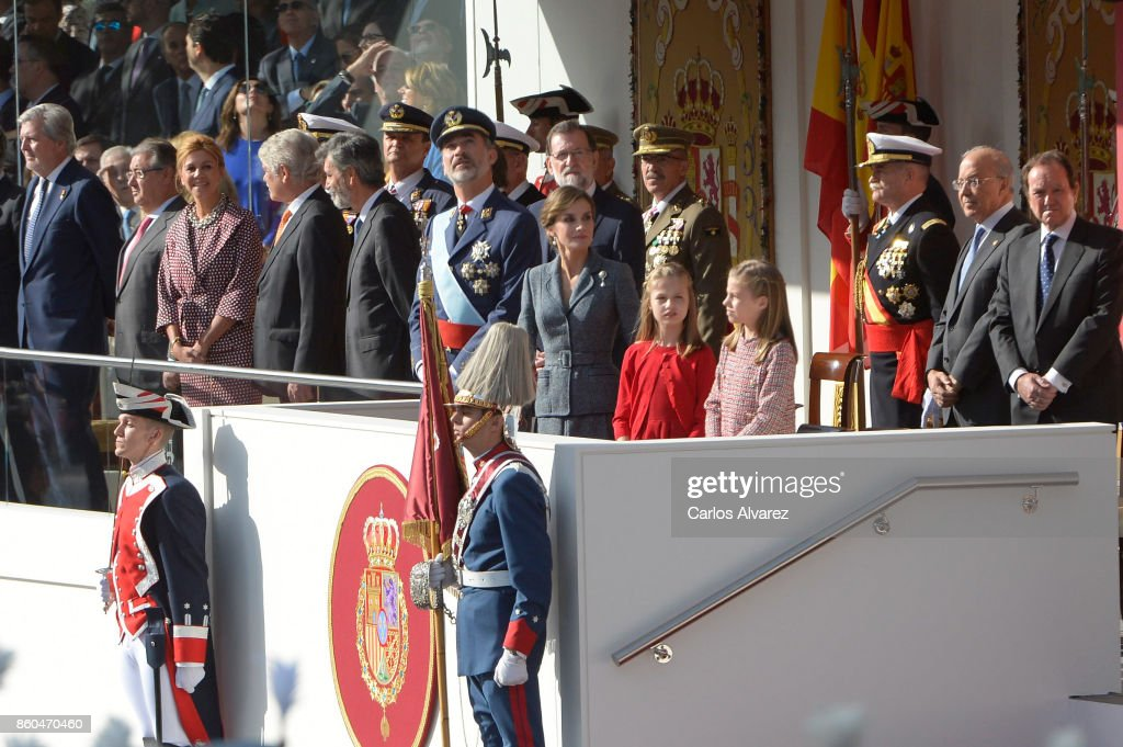 King Felipe of Spain, Queen Letizia of Spain, Princess Leonor of Spain and Princess Sofia of Spain attend the National Day Military Parade 2017 on October 12, 2017 in Madrid, Spain.