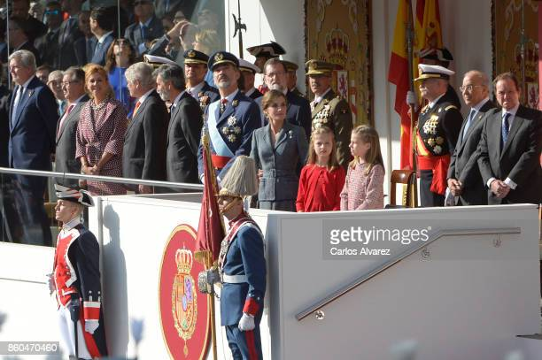 King Felipe of Spain Queen Letizia of Spain Princess Leonor of Spain and Princess Sofia of Spain attend the National Day Military Parade 2017 on...