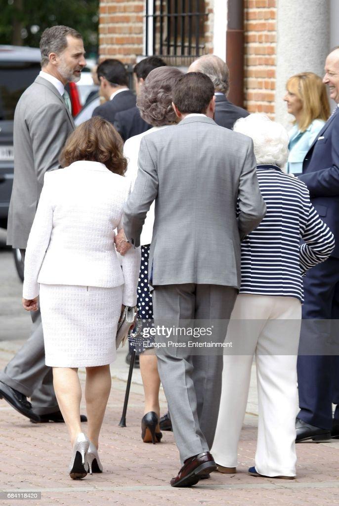 King Felipe of Spain, Queen Letizia's mother Paloma Rocasolano, Queen Letizia's father Jesus Ortiz and Queen Letizia's grandmother Menchu Alvarez del Valle attend the First Communion of Princess Sofia at the Asuncion de Nuestra Senora on May 17, 2017 in Madrid, Spain.